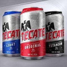 Heineken 're-energises' Mexican beer brand Tecate Best Cheap Beer, Best Beer, Beverage Packaging, Bottle Packaging, Bud Light, Tecate Light, Mexican Beer, Beer Label Design, Beer Brands