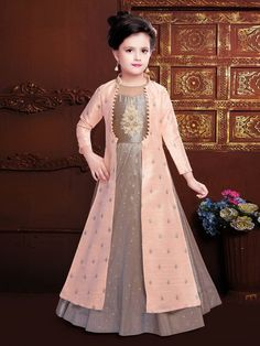 Raw silk brown and peach hue double layer gown Girls Dresses Sewing, Gowns For Girls, Frocks For Girls, Dresses Kids Girl, Girls Frock Design, Baby Dress Design, Kids Frocks Design, Baby Girl Frocks, Kids Dress Patterns