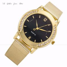 2017New Fashion Gift Clock Hour Women Ladies Girls Watch Crystal Golden Stainless Steel Analog Bracelet Quartz Wristwatch1215d40 #Affiliate