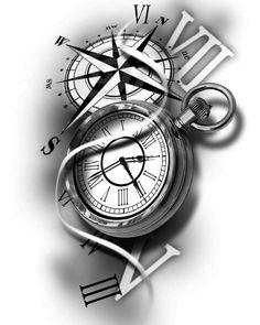 stunning eye-catching tattoo sketches design ideas Wagepon Ideas - We . - stunning eye-catching tattoo sketches design ideas Wagepon Ideas – When getting a tattoo, it& - Time Clock Tattoo, Clock Tattoo Sleeve, Tattoo Sleeve Designs, Tattoo Designs Men, Arm Tattoo, Sleeve Tattoos, Tattoo Time, Clock Tattoo Design, Compass Tattoo Design