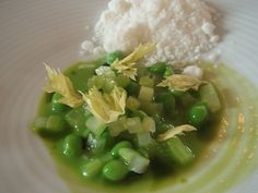 Peas and celery by Chef René Redzepi at Noma Restaurant, Copenhagen. Excited to find this dish, but cannot find the recipe. The sauce, the sauce, what makes that sauce special?