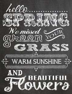 Free Spring Chalk Board Art Printable~ Seal this with outdoor sealer and this is going  on my potting bench or in the garden or maybe hanging on the porch?!?! Love it!