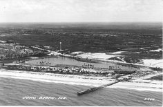 [via Terry Oxendine and Jupiter Old Days by Rob Thomson] 1940 Juno Beach (before I remember the water tank from not too long ago. Site of Juno Beach Methodist Church - My parents were founding members in the Juno Beach Florida, Juno Beach Pier, Vintage Florida, Old Florida, Jupiter Florida, Water Tower, Old Photos, Lighthouse, Places To Visit