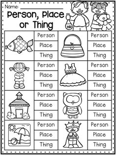 Nouns worksheet for sorting between person, place or thing. This worksheet is great for kindergarten and first grade students. first grade Grammar Worksheet Packet - Nouns, Adjectives and Verbs Worksheets Nouns Worksheet, Grammar Worksheets, Kindergarten Worksheets, Money Worksheets, Kindergarten Language Arts, Phonics Worksheets, Reading Worksheets, Printable Worksheets, Homeschool Kindergarten