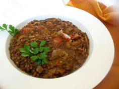 French Lentil Tomato and Harissa Stew Gluten Free Recipes, Vegan Recipes, Cooking Recipes, Puy Lentil Recipes, French Lentils, Stew, Entrees, Delish, Spicy