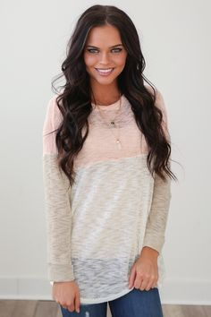 Magnolia Boutique Indianapolis - Knit Long Sleeve Colorblock Top - Peach, $29.00 (http://www.indiefashionboutique.com/knit-long-sleeve-colorblock-top-peach/)