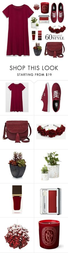 """60 Second Style"" by kate-peters12 ❤ liked on Polyvore featuring Full Tilt, Vans, FOSSIL, Elements, Tom Ford, Clinique, Diptyque, tshirtdresses and 60secondstyle"