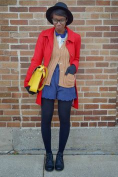Red Single Breasted Tulle coat - Black UrbanOG Lace Inset Ankle Boots - Yellow VJ Style Bag