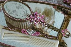 Elegant Sophistication Dresser Set From The Vanity Collection By Debbie Del Rosario-Weiss, Juliana,brush, comb, vintage, Clock,tray, mirror, perfume, antique, vintage, victorian, Sparkle,