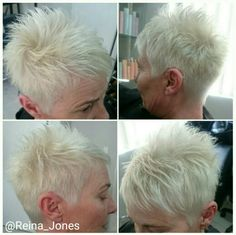 White  cool Blonde. Short funky style...