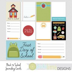 Back to School Digital Scrapbooking by PluckyLimeDesigns on Etsy, $3.00