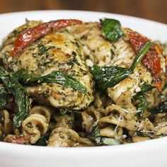 One-pot Pesto Chicken Pasta by Tasty