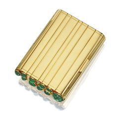 18 KARAT GOLD AND EMERALD CIGARETTE CASE, FRENCH, CIRCA 1940 Of curved rectangular shape, the fluted polished gold case enhanced at one end with oval cabochon emeralds, gross weight approximately 152 dwts, measuring approximately 4 1/4 by 3 by 3/4 inches, French workshop and assay mark.