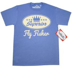 Inktastic Fly Fisher Vintage Superior T-Shirt Fishing Gift Fisherman Funny Retro Crown Hobby Fish Sports Hobbies Mens Adult Clothing Apparel Tees T-shirts Hws, Size: Large, Blue