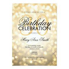 Elegant 30th Birthday Party Gold Glitter Lights Card 60th Invitations