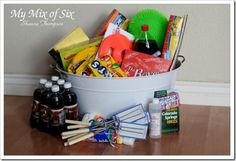End of School Basket ~ On the last day of school it is a tradition to have a basket for the kids filled with goodies to get excited about summer.