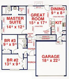 First Floor Plan of House Plan 53105