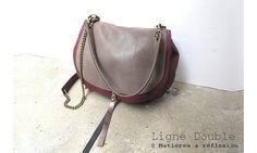 Mini-Luna Double (Cuir Bordeaux/Taupe) #matieresareflexion #upcycled #leather #minisac #minibag #burgundy #bordeaux