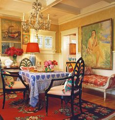 Colorful dining room with personality!