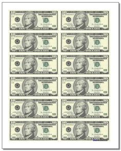 Thousands of free printable PDF math worksheets and resources on this site. Play Money Template, Bill Template, Templates Free, Card Templates, Fake Money Printable, Free Printable, Fake Dollar Bill, Monopoly Money, Poker