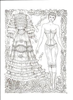 Brides Paper Dolls by Charles Ventura of Adult Coloring Book Pages, Colouring Pages, Coloring Books, Paper Dolls Clothing, Doll Clothes, Victorian Bride, Paper Dolls Printable, Cardboard Paper, Dibujos Cute