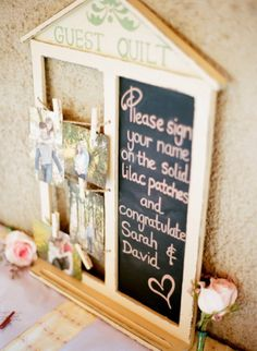 cute sign idea for guest quilt