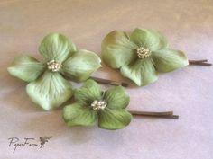 Green hydrangea bobbies. $15.00, via Etsy.