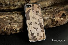 Botanic Fern Leaves Wood Case Nature Forest iPhone 6, iPhone 6S, iPhone 7 Plus, iPhone 5/5s, iPhone 5C, iPhone 4/4S Wooden Gift Gadget Gifts