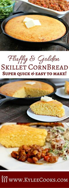 Fluffy and Golden this Skillet Cornbread is a cinch to make and is fantastic side for any meal! via Fluffy Golden Skillet Cornbread Cast Iron Skillet Cornbread, Skillet Bread, Iron Skillet Recipes, Skillet Cooking, Cast Iron Recipes, Cast Iron Cooking, Corn Bread Cast Iron, Cast Iron Skillet Meals, Cooking Steak