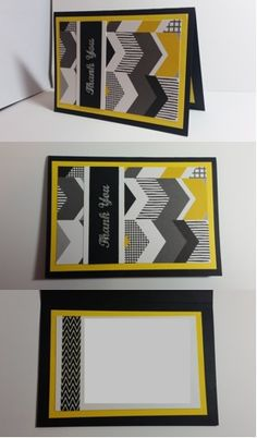 Yellow & Blue arrow printed Thank You card -  Han-crafted (c)