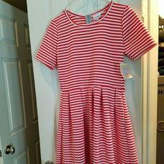Lularoe LG Amelia Dress Red & white stripes. Brand new with tags. Comes from a smoke free home. LuLaRoe Dresses