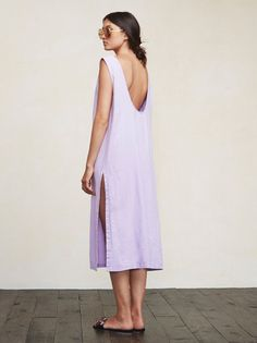 You don't want clingy relationships, and sometimes you don't want clingy outfits either. The Laguna Dress is a lovely, loose-fitting thing that allows fresh air to find you, which is especially pleasant on those warmer summer days. This is a medium weight linen midi dress with a side slit and deep scoop back.    https://www.thereformation.com/products/laguna-dress-coneflower?utm_source=pinterest&utm_medium=organic&utm_campaign=PinterestOwnedPins