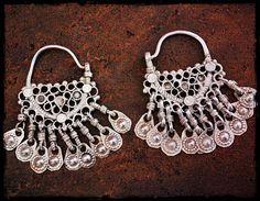 Antique Afghan Hoop Earrings  Tribal Hoop Earrings  Ethnic