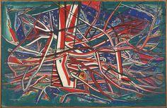 """Lot 25  DE ROOVER Albert (1892-1978) Composition  Huile sur toile Signé en bas à gauche et daté """" J ALB de ROOVER 60""""  H: 86.0 x L: 132.0 cm  #ContemporaryArt #Art #Auction"""