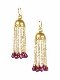 Chandelier Ruby & Pearl Earrings