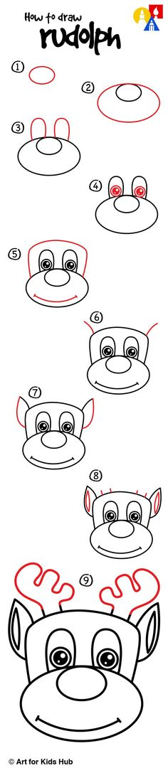 How To Draw Rudolph - Art For Kids Hub - Christmas Drawings 🎅 Art For Kids Hub, Art Hub, Amazing Drawings, Easy Drawings, Drawing Lessons, Art Lessons, Cartoon Drawings, Animal Drawings, Amazing Animals
