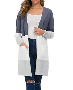 QIXING Women's Casual Knit Cardigans Sweater Coat with Pockets