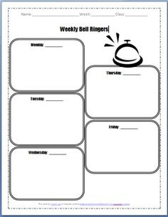 Weekly Bell Ringer Sheet - FREE download! Created by me.  Have at it =] Could be used for many grades.