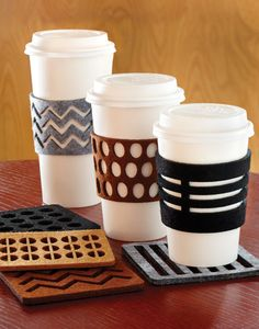 coffee addiction cozies and coasters in laser-cut felt