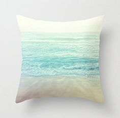 Ocean Pillow Cover hawaii Beach Photo Pillow blue, beige turqoise, pastel photo Decorative Throw Case, nursery decor, couch home photography...