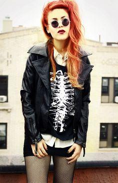 Skeleton sweatshirt with jacket, Little black dress, fishnet leggings & Sunglasses