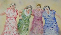 Let's Dance by Terrece Beesley. This watercolor on Arches cold press paper depicts four elderly ladies engaged in a lively dance. The artist enjoyed depicting the joy that comes from being with old friends. The painting is signed in the lower right corner, and double matted with cream and tan mats. The outer dimensions are 15 by 21 inches.