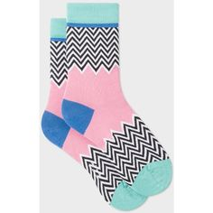 Paul Smith Women's Pastel Pink Zig Zag Pattern Socks (330 ZAR) ❤ liked on Polyvore featuring intimates, hosiery, socks, blue and pink, pink hosiery, zig zag socks, pink socks, paul smith socks and zig-zag socks