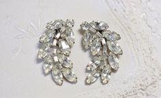 Vintage Clear Rhinestone Juliana Style Earrings by HookedOnVintageShop