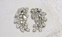 Vintage Clear Rhinestone Juliana Style Earrings by HookedOnVintageShop