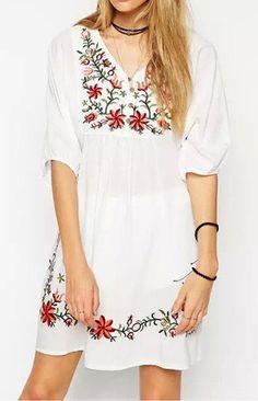 White Boho Floral Embroidery Dress