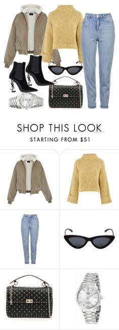 """""""Untitled #4621"""" by dkfashion-658 on Polyvore featuring Topshop, Le Specs, Valentino, TUDOR and Yves Saint Laurent"""
