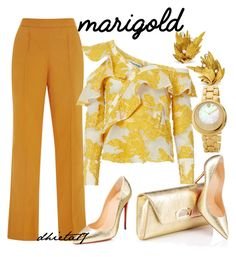 """Marigold"" by dhieta17 on Polyvore featuring Rosie Assoulin, self-portrait, Christian Louboutin, Versace, gold and marigold"