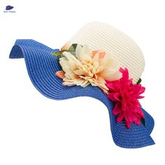 Fashion Mother Daughter Hat Lady Wide Large Brim Floppy Summer Beach Sun Straw Hat Cap with flower Free Shipping C015