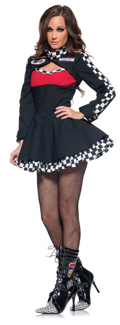 Drive the men wild and get their engines running in our women's sexy Curves Race Car Driver Adult Costume. This flirty little dress will bring out the racing motor enthusiast in everyone and have you ready for the next NASCAR event. Our women's Curves Race Car Driver Costume includes a black mini dress featuring a red bust, flattering v-waistline, black and white checkered trim and attached petticoat. The attached bolero jacket features a checkered trimmed collar and long sleeves, folded ...